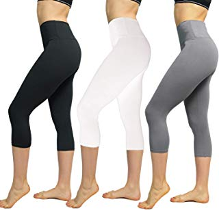 FuelMeFoot 1/3 Pack High Waisted Yoga Leggings -Regular and Plus Size -Super Soft Capri-Length Opaque Slim