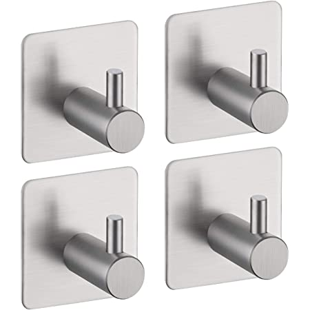 Amazon Brand - Eono Coat Hook Self Adhesive Wall Hook Door Hooks Towel Hook for Bedrooms Stick on Wall Heavy Duty Sticky Hooks 304 Brushed Stainless Steel 4 Pieces, A7060-2-P4