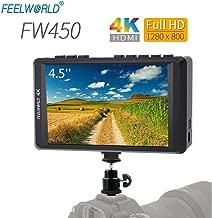 FEELWORLD FW450 4.5 Inch DSLR On Camera Field Monitor 4K HDMI Input Output Small HD Focus 1280x800 Ultra Lightweight Video Assist