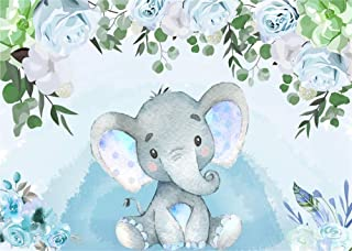 AOFOTO 7x5ft Flowers Baby Elephant Backdrop Watercolor Blue Boy Gender Reveal Party Decoration Sweet Floral Baby Shower Photoshoot Background for Photography Kid Child Birthday Photo Studio Prop Vinyl
