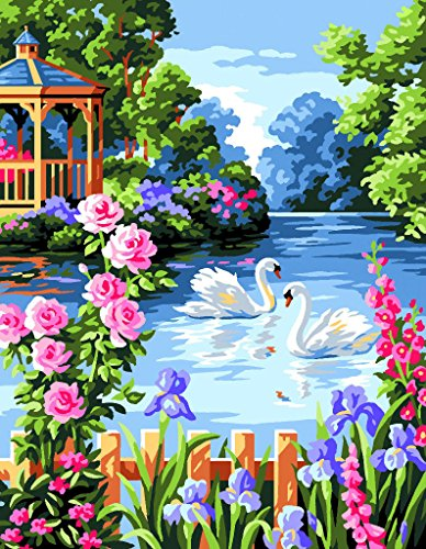 Royal Paris Tapestry Canevas/Point sur toile – Cygnes Dans Motif floral étang