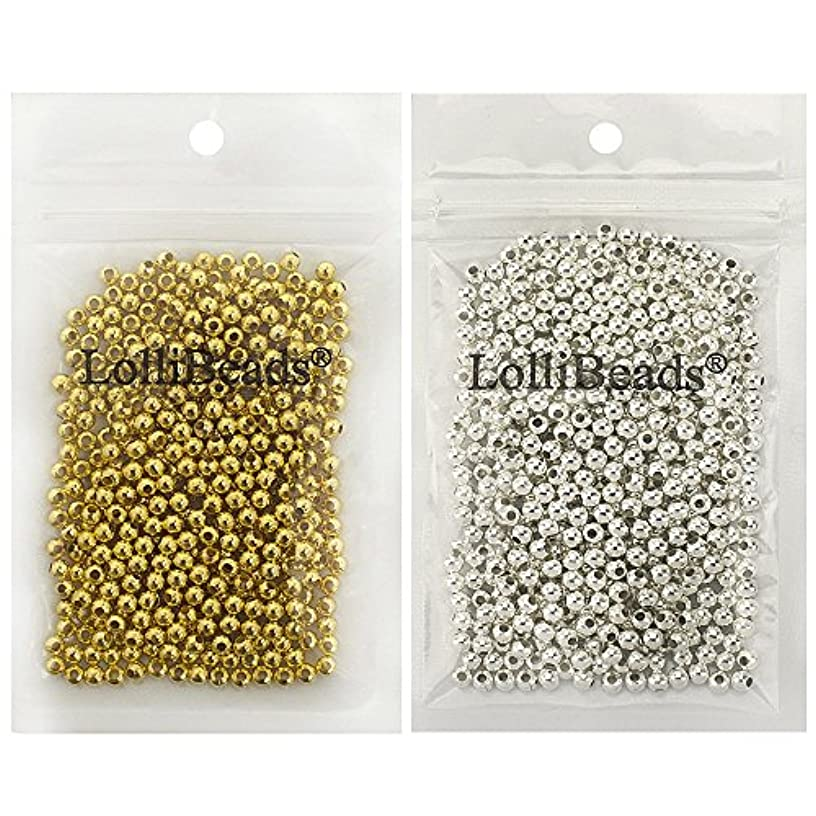 LolliBeads (R) Gold and Silver Plated Smooth Round Metal Beads Mixed Color 4 mm 600/600 Total 1200 Pcs