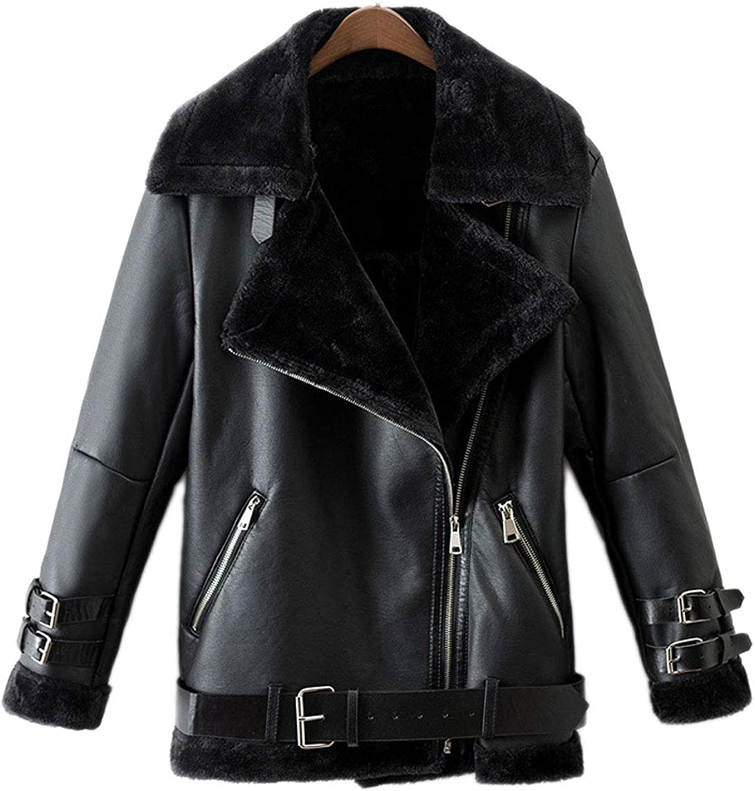 CHARTOU Women's PU Leather Quilted Moto Jacket Biker Tops Plush Lined Short Coat Outwear
