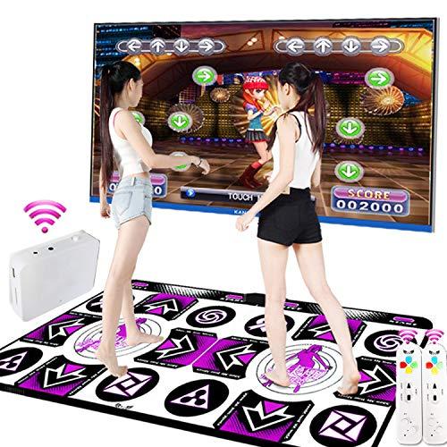 KAXIMON Tanzmatte, Yoga-Spielmatte Musik Spielzeug Pad ausgestattet mit drahtlosem Empfänger, kompatibel mit TV / PC, Dicke 13 mm, schalldichte Softplay-Matte, englisches Betriebssystem (Doppelmodus)