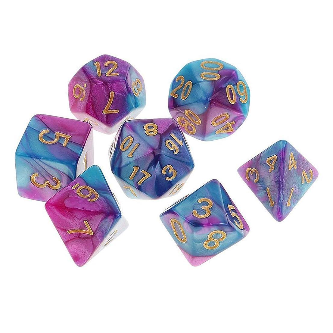 注意アンデス山脈石油Yourandoll 7個 多面体のダイス サイコロ 2色 16mm D20 D12 D10 D8 D6 D4 Dungeons and Dragons 、DND、 TRPG、 MTGなどテーブルゲーム用 パープルブルー