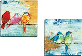 Portfolio Canvas Decor Framed and Stretched Ready to Hang Song Birds II Canvas Wall Art by Three Bamboo Studio (Set of 2), 16 x 16/Large
