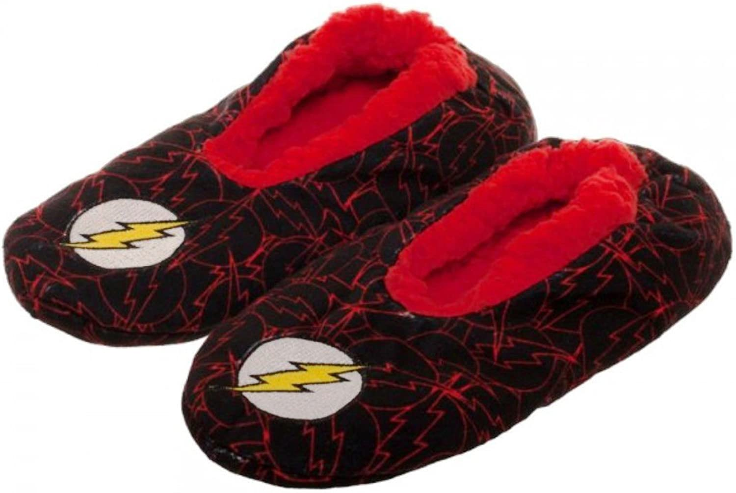 New Horizons Production DC Comics The Flash Shield Plush Cozy Unisex Adult Slippers