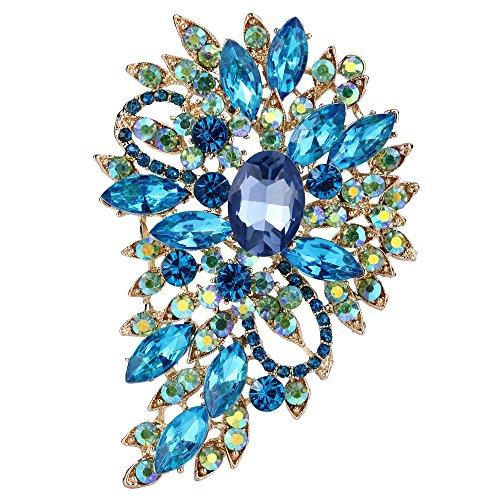 EVER FAITH Broche para Mujer Marquesa Boda Flor Hoja Cristal Austríaco Azul Claro Tono Dorado