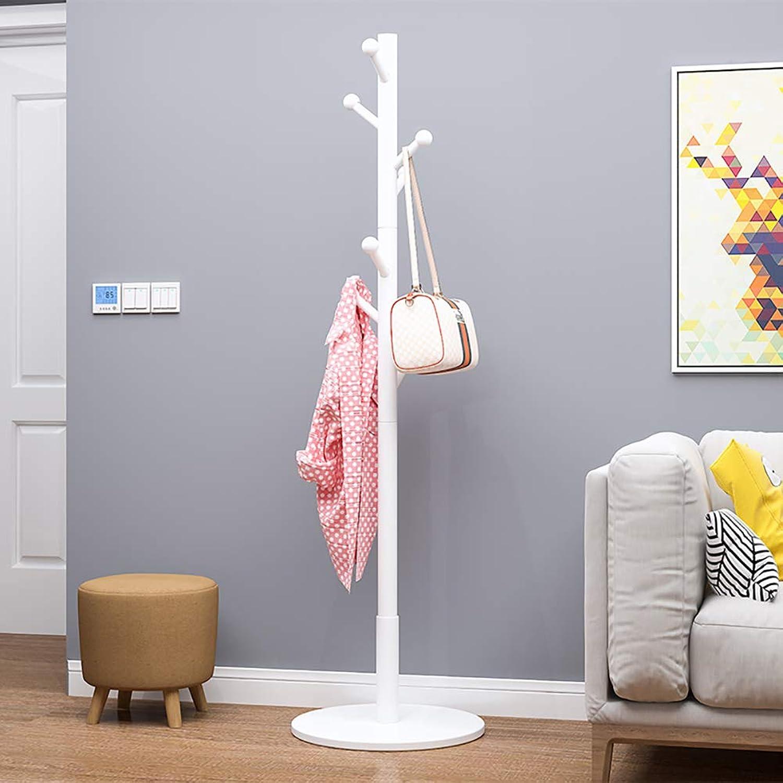 KTOL Multifunction Coat Hall Tree Free Standing, Modern Simple Coat Rack 8 Hooks Stable Floor Coat hat Holder for Office Hat Hanger Entryway-White Round Base