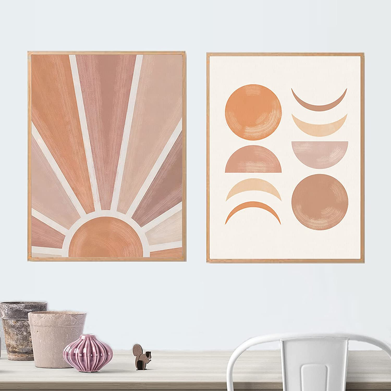 Laoife Minimalist Wall Art Mid Century Modern Sun Canvas Art Print Poster  for Living Room Pictures,Set of 20 Boho Abstract Nature Wall Decor Rolled up  ...