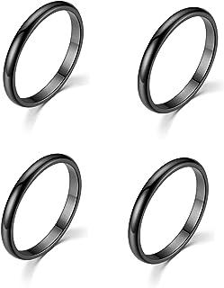 Set of 4 pcs 2mm Ultra Thin Ring Band Slim Minimal Infinity Stacking Ring Gold Rose-Gold Silver Black