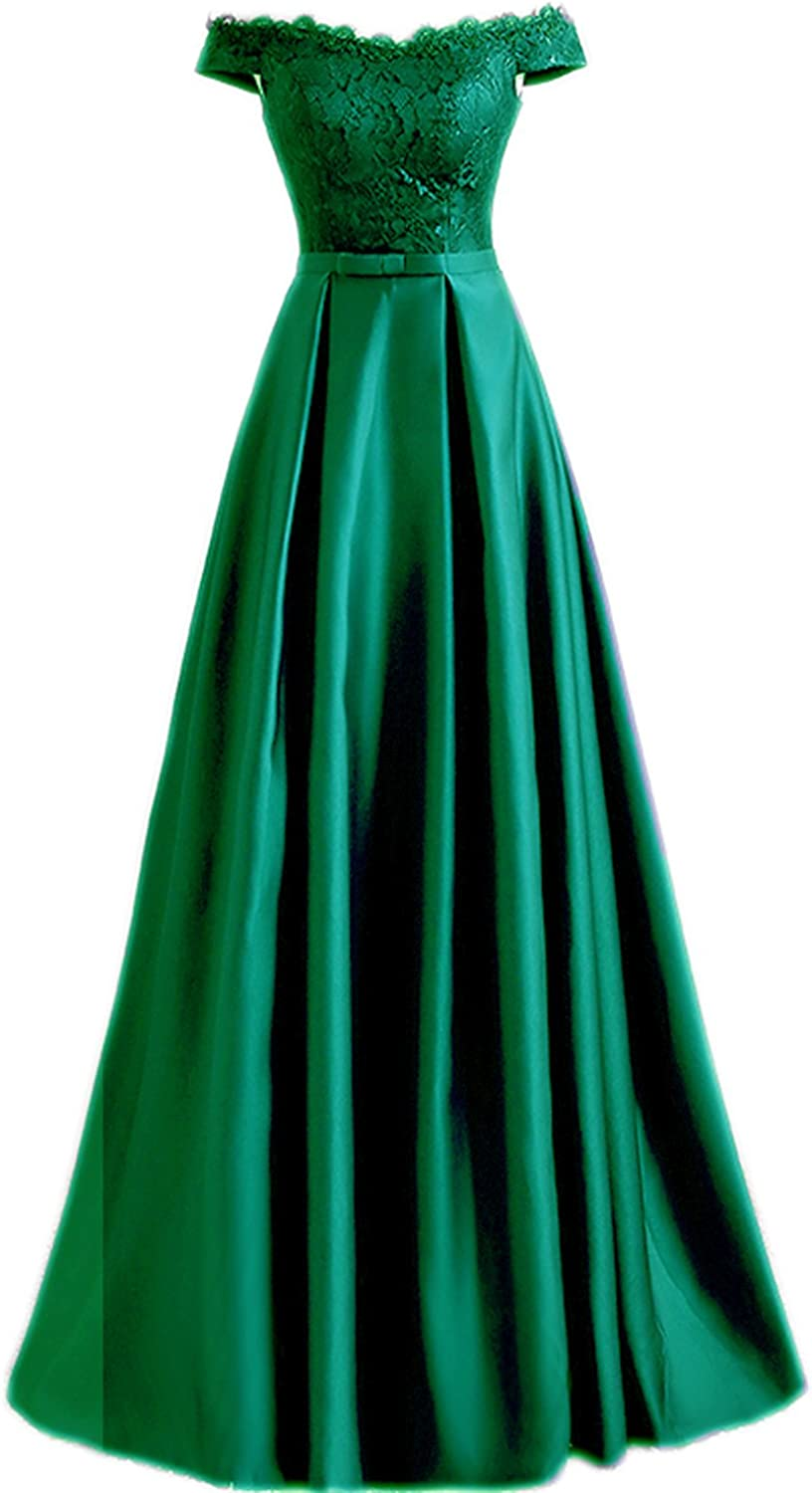 Sarahbridal Women's Satin Prom Dresses Long 2018 Off The Shoulder Lace Applique Evening Ball Gowns