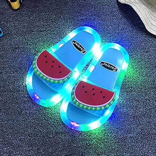 zuecos sanitarios mujer,Zapatillas intermitentes LED, zapatillas de bebé de fruta de sandía, sandalias casuales de verano fuera de la casa, PVC antideslizante baño piscina Piscina Playa Flip.-UE 40/4