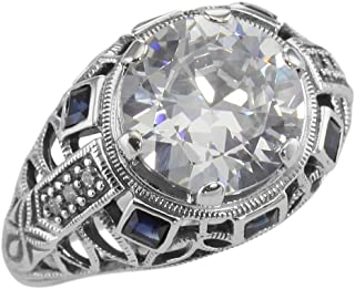 Art Deco Style Sterling Silver Filigree CZ Ring w/Sapphires