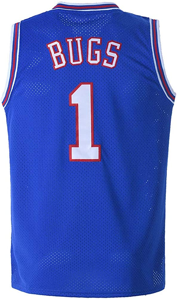 BOROLIN Mens Basketball Jersey Bugs #1 Space Jersey White/Black : Sports & Outdoors