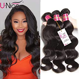 UNice Hair Icenu Series 8a Indian Body Wave Virgin Hair 3 Bundles, 100% Unprocessed Human Hair Extensions Weave Natural Color (20 22 24 inches)
