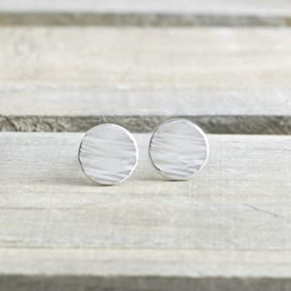 Tiny Sterling Silver Dot Stud Earrings Jewelry Gift for Women Linen Texture