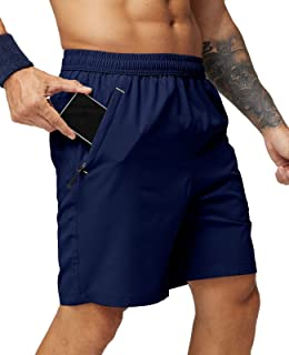 MIER Men's Quick Dry Running Shorts with Zipper Pocket, Elastic Waist Athletic Workout Exercise Fitness Shorts, 7 Inch