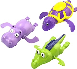 NUOLUX 3pcs Baby Bath Toys Swimming Tub Bathtub Clockwork Toy Kid Educational Water Toys Gift( Turtle Hippo Crocodile)