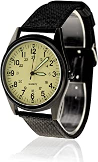 KTC Fashion Black Case Light Yellow Dial Nylon Fabric Strap Wrist Watch
