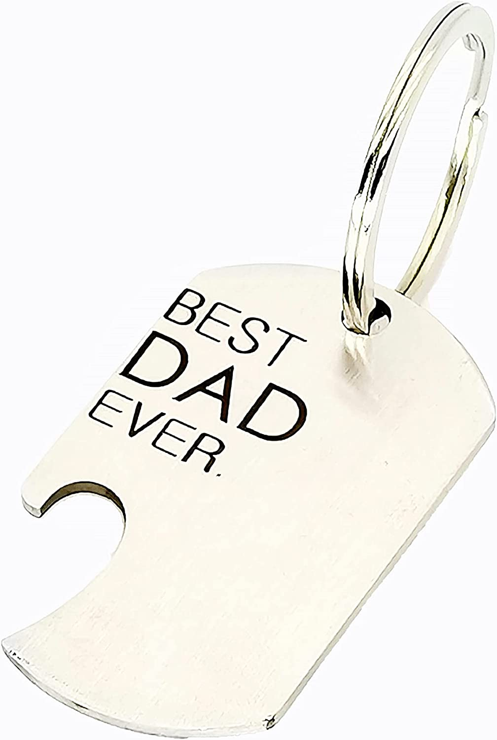 Keychain BEST DAD EVER Gift Bottle Opener cute keyring Stainless Multitool as Cool Bottle Opener Car Keyring for Men (2.76 x 1.18 x 0.08 inches)