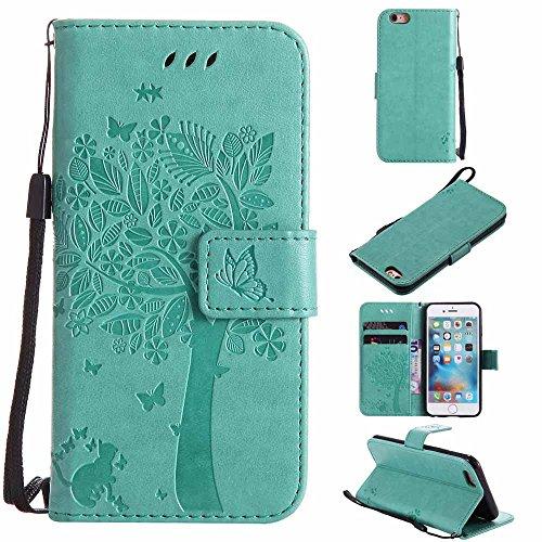 Custodia a portafoglio in pelle sintetica decorata in rilievo con motivo di albero, gatto e farfalla, con supporto per Apple iPhone verde Mint Green iPhone 5C