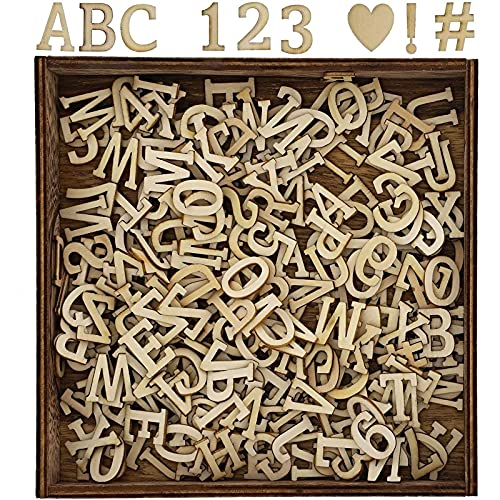 Wooden Shadow Box with Alphabet Letter Cutouts (6.8 x 6.8 x 0.9 In)