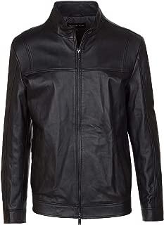Michael Kors Men's Black 100% Nappa Leather Racer Zip Up Jacket