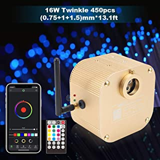CHINLY Bluetooth Twinkle 16W RGBW APP/Remote LED Fiber Optic Star Ceiling Lights Kit Mixed 450pcs (0.03in+0.04in+0.06in) 13.1ft +5 Crystals