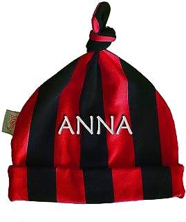 Zigozago - Cappellino con nodo a righe rosso e nere con eventualmente il nome ricamato