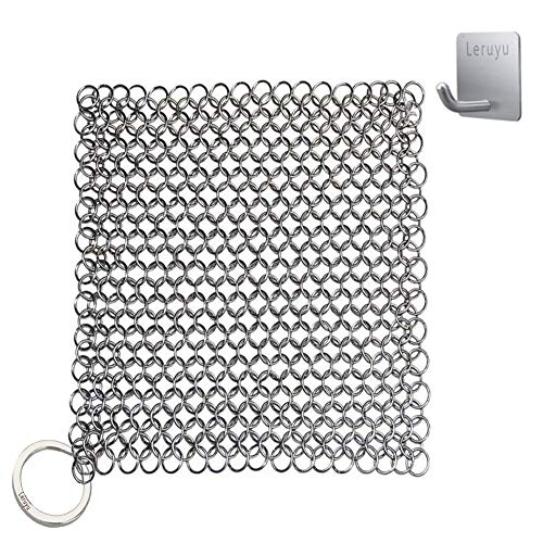 Cast Iron Cleaner, The Ringer Cast Iron Cleaner Scrubber, Leruyu 316L Cast Iron Chainmail Scrubber for Pre-Seasoned Pan Dutch Ovens Cast Iron Pans