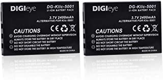 DIGIeye 2 x 2400mAh KLIC-5001 Replacement Battery for Kodak Easyshare P712 P850 P880 Z730 Z760 Z7590 DX6490 DX7440 DX7790 DX7630 Zoom Sanyo DB-L50 DMX-WH1 HD1010 FH11 HD2000 VPC-WH1 DMX-WH1