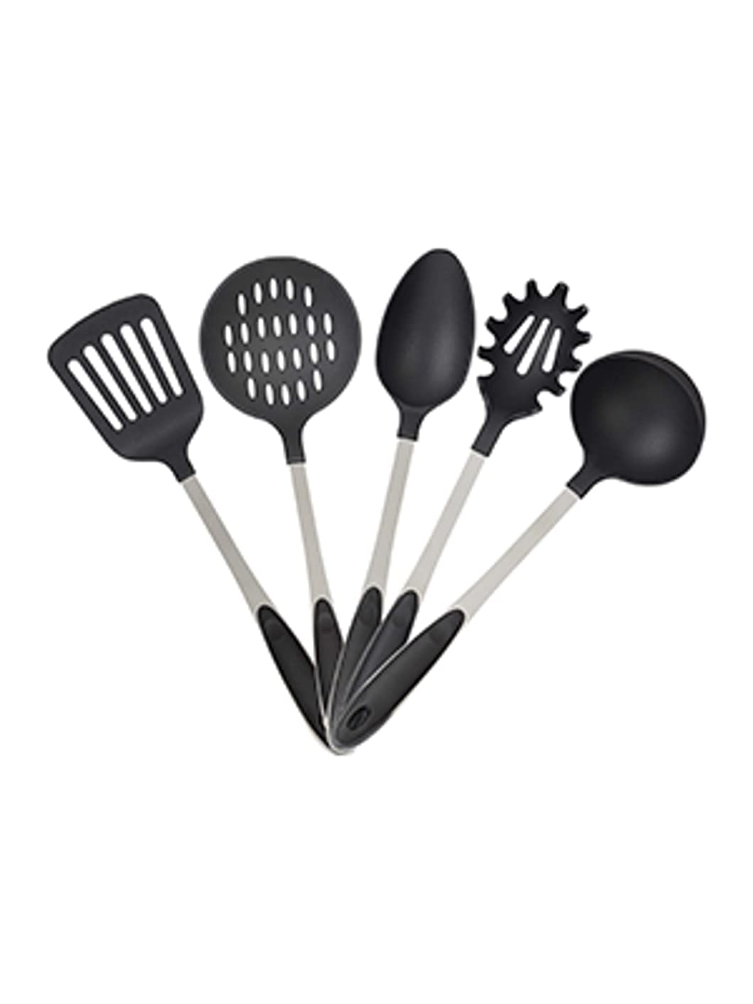 Relaxdays 5 Piece Set Ladle, Serving Spoon, Pasta Spoon, Turner, Slotted Spoon, Stainless Steel, Silver/Black, Standard