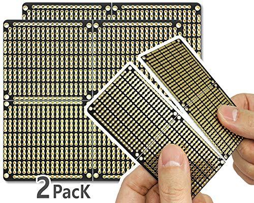 Electro Cookie - Placa de Circuito Impreso Snappable PCB con rieles de alimentación para Arduino y Electrónica, chapada en Oro, 97 * 89 mm (2 Unidades, Negro)
