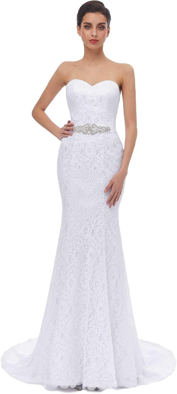 HUICHENGYAO Women's Sweetheart Sleeveless Dress Lace Eve Wedding Fixed price for sale Gorgeous