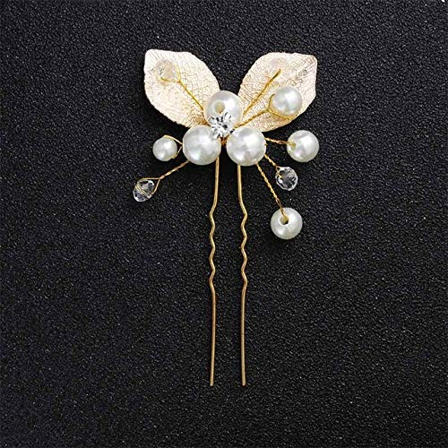 ASDAHSFGMN Bridal Hair Accessories Bridal Hairpins Clips Handmade Wedding Hair Accessories Jewelry Headpieces Crystal Hair Pins for Women (Metal color : 15)