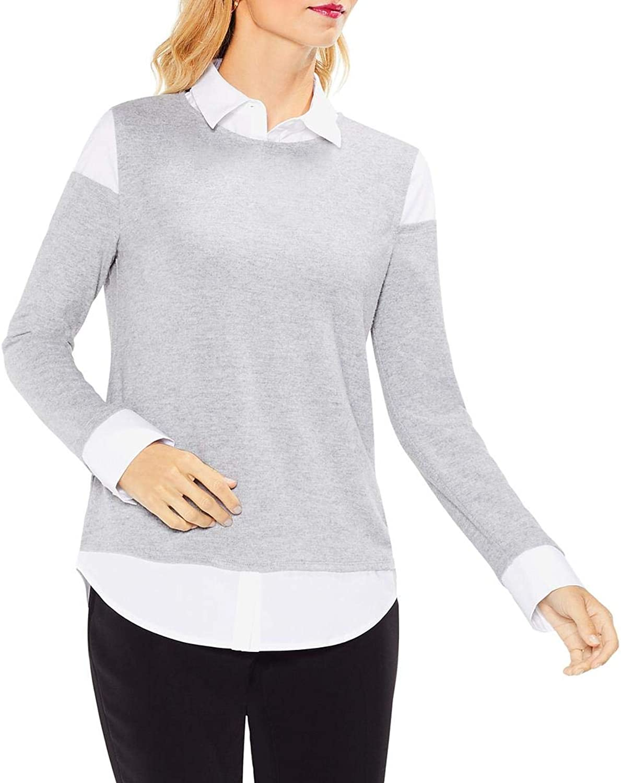 Vince Camuto Womens Mixed Media Collar Sweatshirt