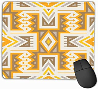 Gaming Mouse Pad Oblong Shaped Mouse Mat 11.81 X 9.84 Inch Seamless Tribal Pattern Textile Design Geometrical Ethnic Print Mix Rhombuses Triangles Stripes Fervent