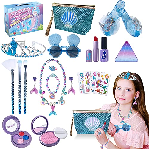 Princess Makeup Kit, Fake Make-up Dress Up Jewelry Toys, Toddler Girls Gifts for Age 3 4 5 6 Year Old, Kids Play Makeup Starter Kit with Play Shoes Crown Purse Necklace Bracelets Stickers for Birthday
