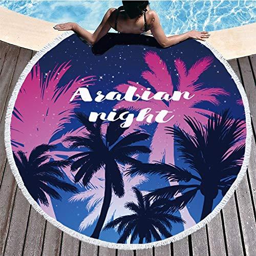 VSander Vacaciones De Verano Viaje Redondo Estampado con Flecos Suave Toalla De Playa Baño Asiento 150 * 150 Cm