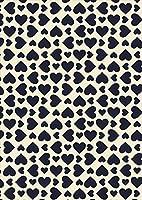 igsticker ポスター ウォールステッカー シール式ステッカー 飾り 841×1189㎜ A0 写真 フォト 壁 インテリア おしゃれ 剥がせる wall sticker poster 007837 チェック・ボーダー ハート 模様 黒 ブラック