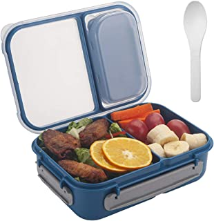 Freshmage Bento Lunch Box Containers for Kids, Adult, Food Meal Prep Containers Leak-proof with 2 Compartments Dividers and Spoon BPA Free - Blue