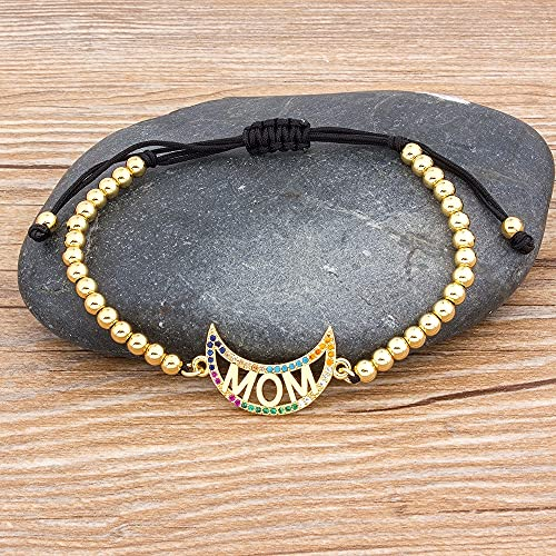 Handmade Bead Bracelet Moon Shape Adjustable Mom Bracelet Top Quality Copper Cubic Zirconia Jewelry for Women Best Birthday Gift