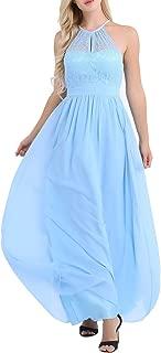 FEESHOW Women's Halter Lace A-Line Chiffon Floor-Length Bridesmaid Dress