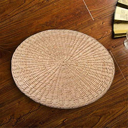XMWWMatStuhlkissenHot Natural Straw Round Pouf Tatami Kissen Bodenkissen Meditation Yoga Round, 40x40cm