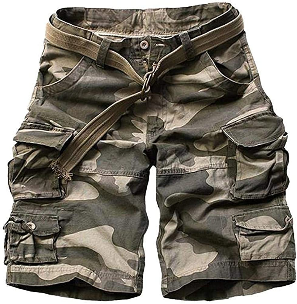 TRGPSG Mens Casual Camo Twill Ripstop Cargo Short Relaxed Fit Outdoor Hiking Chino Casual Shorts with 9 Pockets