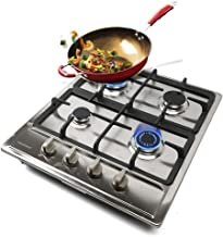 DENESTUS 4 in 1 Gas Cooktop Burners Built In Stove Stainless Steel Tools Hob NG LPG Gas Tempered Kitchen Easy to Clean Gas...