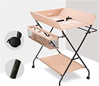 With Wheels Adjustable Portable Diaper Table Baby Care Table Baby Oxford Cloth Steel Pipe Portable Changing Pad Travel Kit - Baby Baby Changing Station Foldable (Color : A)