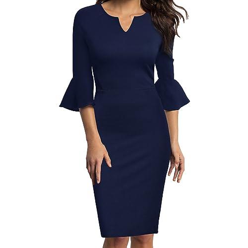 WOOSUNZE Womens Flounce Bell Sleeve Office Work Casual Pencil Dress da6d9ce2a