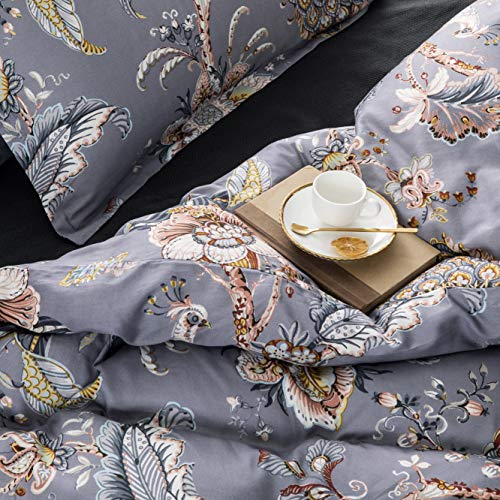 Tahari Home Luxury King 3 Piece Duvet Cover Set Peacock Jacobean Birds Flowers 100% Cotton Branches Vines Lilac Biege Mustard Black White Rust Taupe (King)